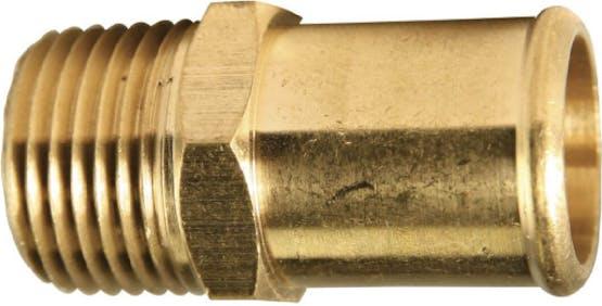 325-12D BRASS FUEL L. COUPLER 3/4 HOSE BARB X 1/2P